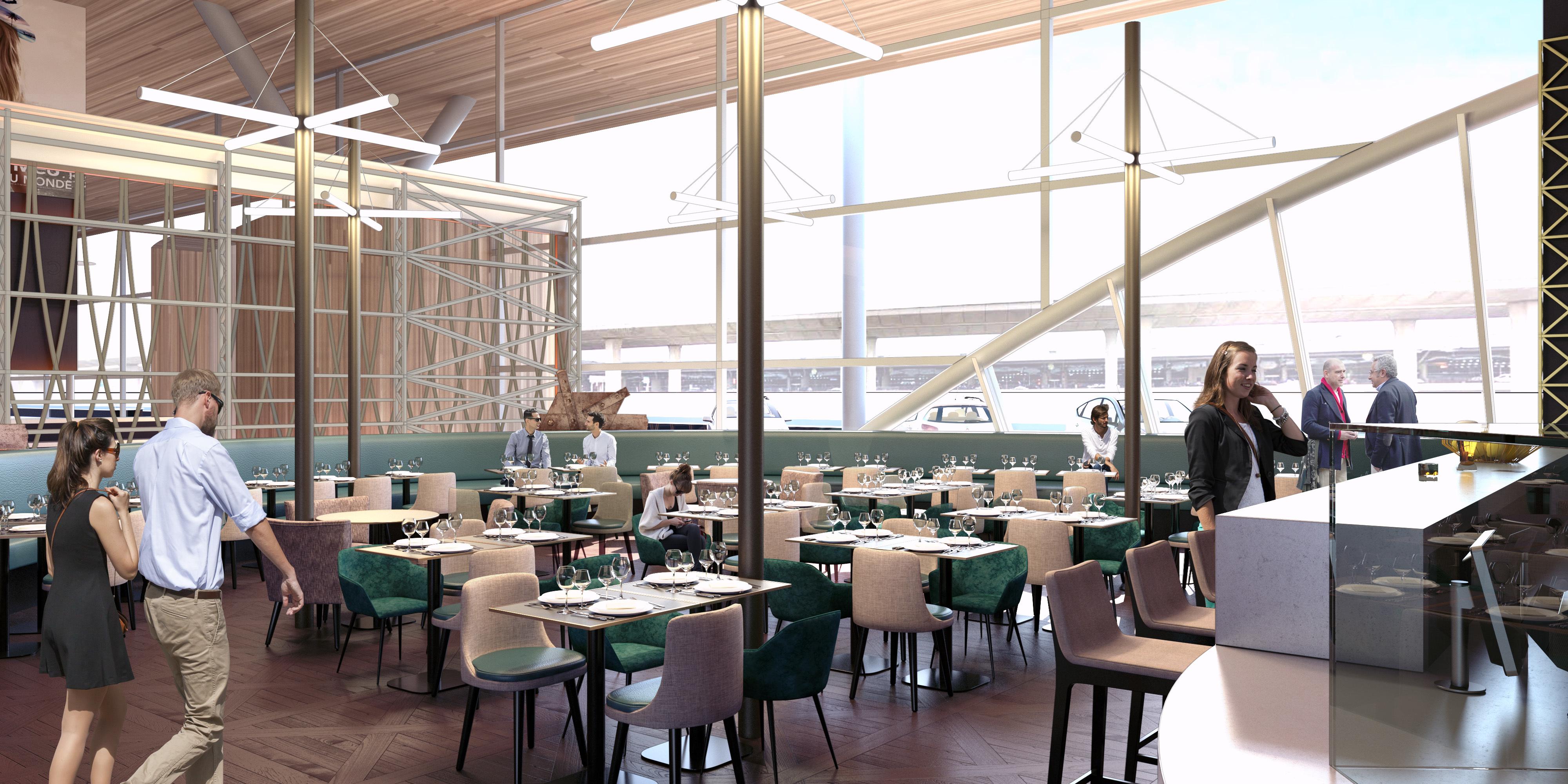 Vue du Café Eiffel au sein du terminal 2 de l'aéroport Paris-Charles de Gaulle © GROUPE ADP
